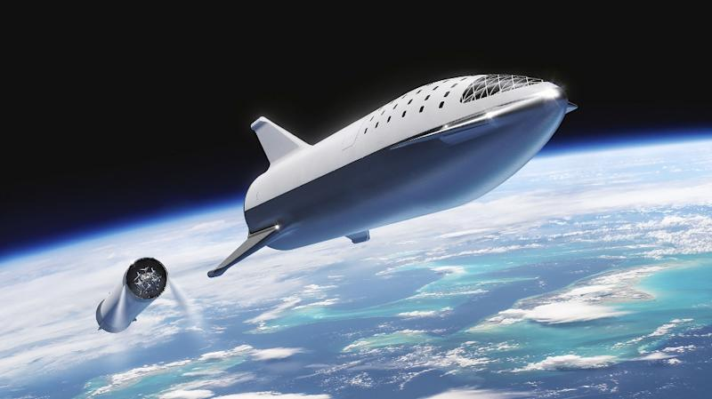 This artist's illustration courtesy of SpaceX shows the SpaceX BFR (Big Falcon Rocket) rocket passenger spacecraft which the company hopes will someday reach Mars (AFP Photo/HO)
