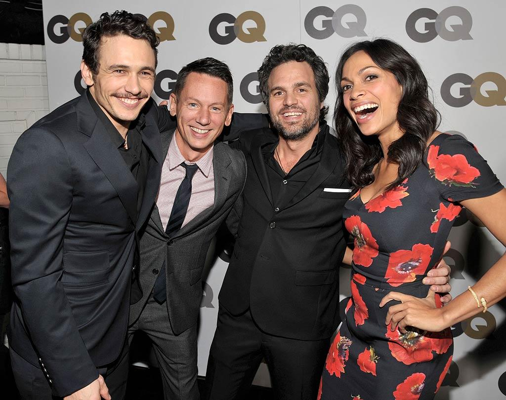 """Other Men of the Year, """"127 Hours"""" actor James Franco (left) and """"The Kids Are All Right's"""" Mark Ruffalo (second from right), formed a sandwich we'd love to join with <i>GQ</i> Editor-in-Chief Jim Nelson and """"Unstoppable"""" actress Rosario Dawson. Lester Cohen/<a href=""""http://www.gettyimages.com/"""" target=""""new"""">GettyImages.com</a> - November 17, 2010"""