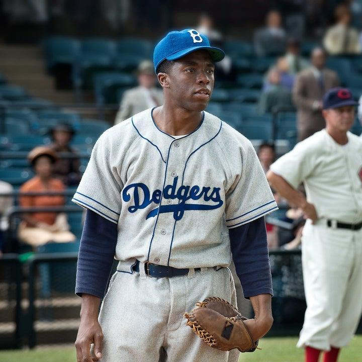 Jackie Robinson wearing his Dodgers uniform in 42