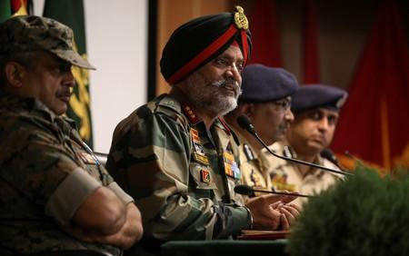 Indian Army's Lieutenant General KJS Dhillon speaks during a news conference in Srinagar