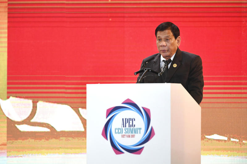 Philippine President Rodrigo Duterte speaks on the second day of the APEC CEO Summit taking place ahead of the Asia-Pacific Economic Cooperation (APEC) leaders summit in the central Vietnamese city of Danang, Thursday, Nov. 9, 2017. (AP Photo/Dinh Hoang)