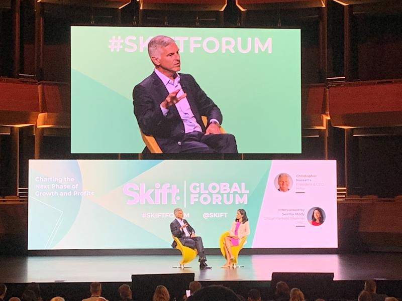 Christopher Nassetta, president and chief executive officer of Hilton, speaking at Skift Global Forum 2019 in New York City. (Photo: Stephanie Asymkos/Yahoo Finance)