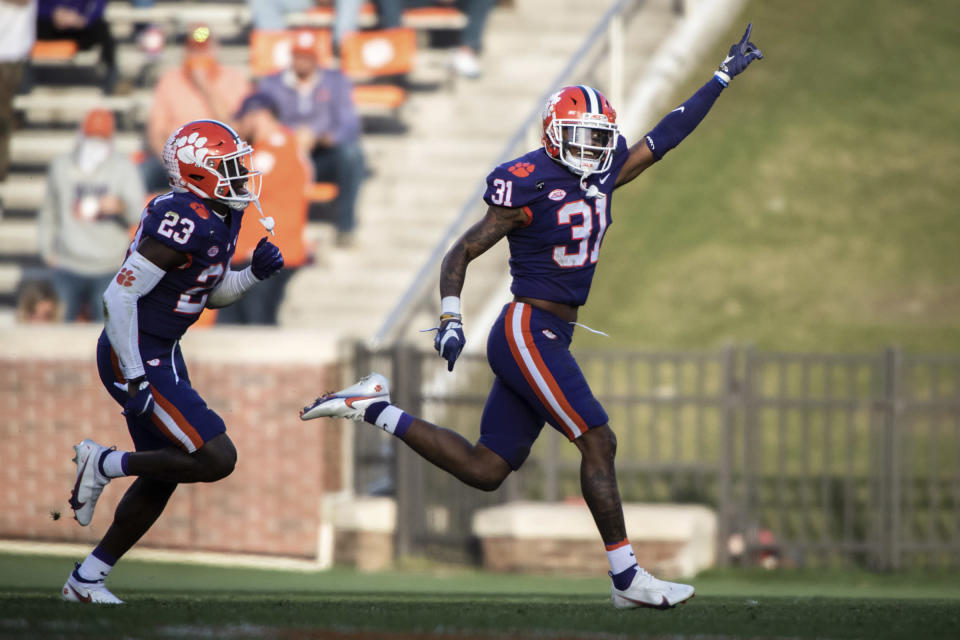 Clemson cornerback Mario Goodrich (31) celebrates after making an interception during the first half of an NCAA college football game against Pittsburgh Saturday, Nov. 28, 2020, in Clemson, S.C. (Ken Ruinard/The Independent-Mail via AP, Pool)