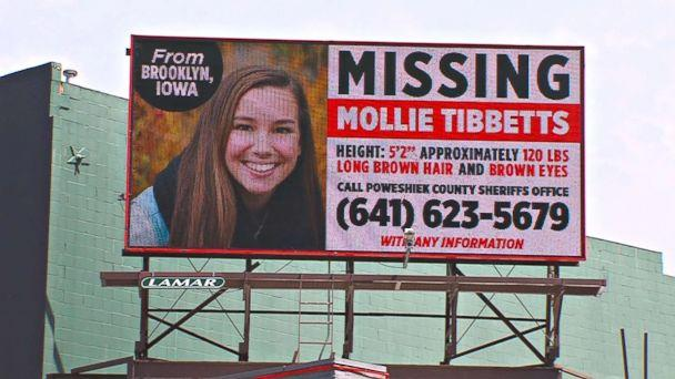 PHOTO: Missing Person billboard for University of Iowa student Mollie Tibbetts. (KCRG)