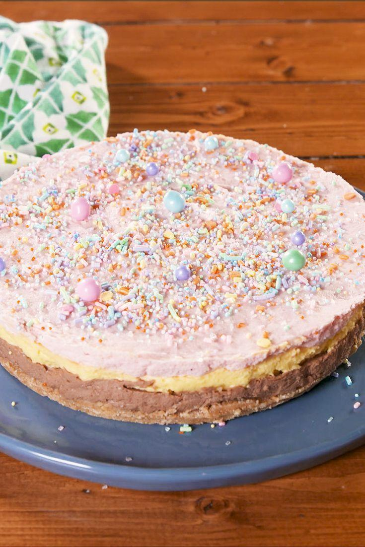 """<p>We love Angel Delight, it makes us think of our childhood, plus it's undeniably tasty. So what better way to honour the powdered dessert than to turn into a cheesecake. Three iconic Angel Delight flavours layered together to create a thing of beauty. </p><p>Get the <a href=""""https://www.delish.com/uk/cooking/recipes/a30440162/angel-delight-cheesecake/"""" rel=""""nofollow noopener"""" target=""""_blank"""" data-ylk=""""slk:Angel Delight Cheesecake"""" class=""""link rapid-noclick-resp"""">Angel Delight Cheesecake</a> recipe.</p>"""