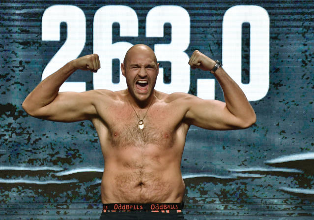 Tyson Fury weighs in at 263 pounds on June 15, 2019 in Las Vegas ahead of his bout vs. Tom Schwarz. (MB Media/Getty Images)