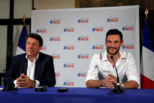 France soccer team goalkeeper Hugo Lloris speaks during a news conference next to Christian Estrosi, Mayor of Nice, at the city hall in Nice, after their victory in the 2018 Russia Soccer World Cup, France, July 18, 2018. REUTERS/Eric Gaillard