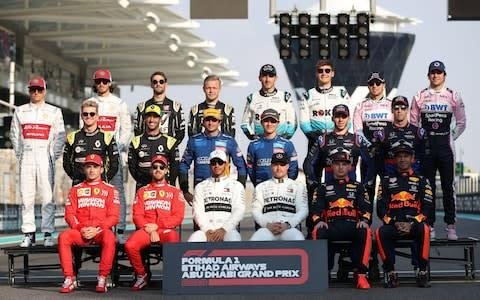 <span>The F1 drivers' end of season photo</span> <span>Credit: REX </span>
