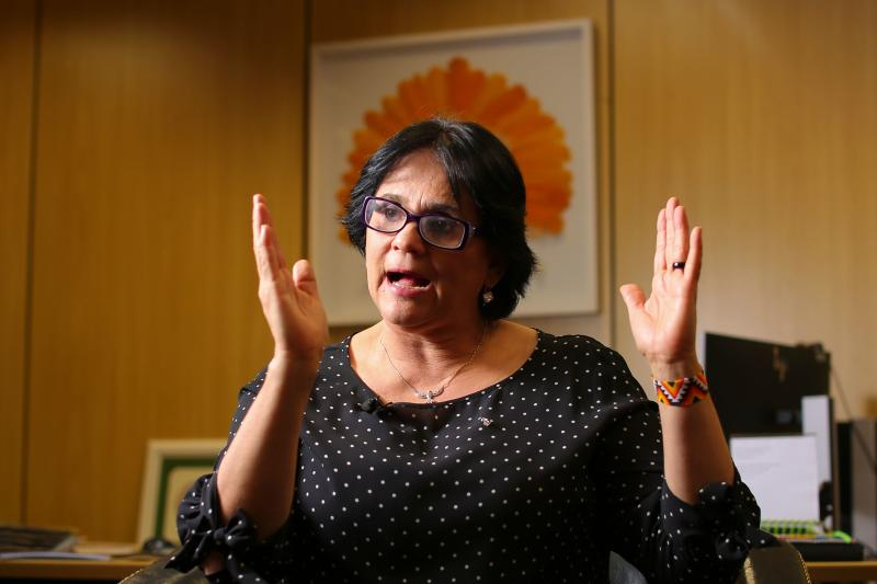 "Brazilian Minister of Women, Family and Human Rights, Damares Alves speaks during an interview with AFP in Brasilia, Brazil, on October 21, 2019. - Alves is one of the two women in Brazilian President Jair Bolsonaro's ministerial cabinet. She defines himself as ""terribly Christian"", adversary of abortion ""even in case of rape"" and feminist militants, and is in a full crusade against violence suffered by women. (Photo by Sergio LIMA / AFP) (Photo by SERGIO LIMA/AFP via Getty Images)"