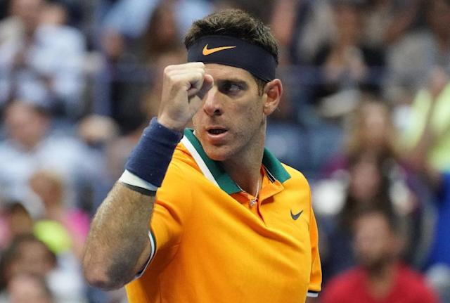 Final return: Juan Martin del Potro celebrates a point while playing Rafael Nadal in the semi-finals (AFP Photo/TIMOTHY A. CLARY)
