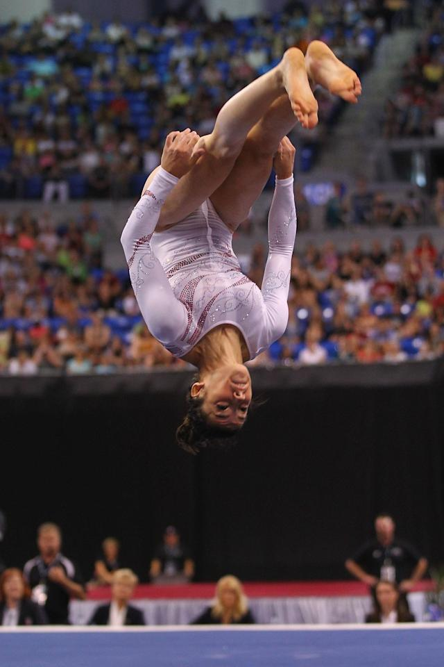 ST. LOUIS, MO - JUNE 10: Alexandra Raisman competes in the floor event during the Senior Women's competition on day four of the Visa Championships at Chaifetz Arena on June 10, 2012 in St. Louis, Missouri. (Photo by Dilip Vishwanat/Getty Images)