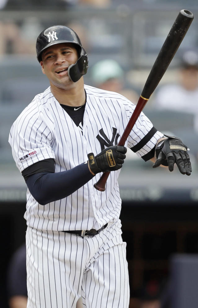 New York Yankees' Gary Sanchez reacts after striking out swinging with two runners on base during the second inning of a baseball game against the Cleveland Indians Sunday, Aug. 18, 2019, in New York. (AP Photo/Kathy Willens)