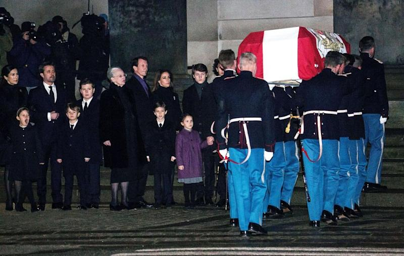 The late royal's coffin was draped with a Danish flag, as thousands of people lined to watch as it was taken through the streets of northern Copenhagen. Source Ole Jensen - Corbis/Corbis via Getty Images:
