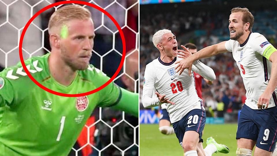 Seen here, Danish keeper Kapser Schmeichel has a laser shone in his face before Harry Kane's penalty.
