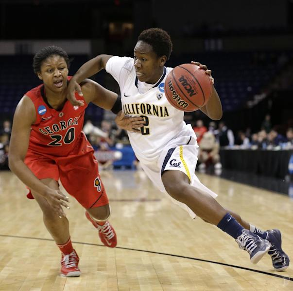 California's Afure Jemerigbe drives past Georgia's Shacobia Barbee during the second half in a regional final in the NCAA women's college basketball tournament, Monday, April 1, 2013, in Spokane, Wash. Cal won in overtime 65-62. (AP Photo/Elaine Thompson)