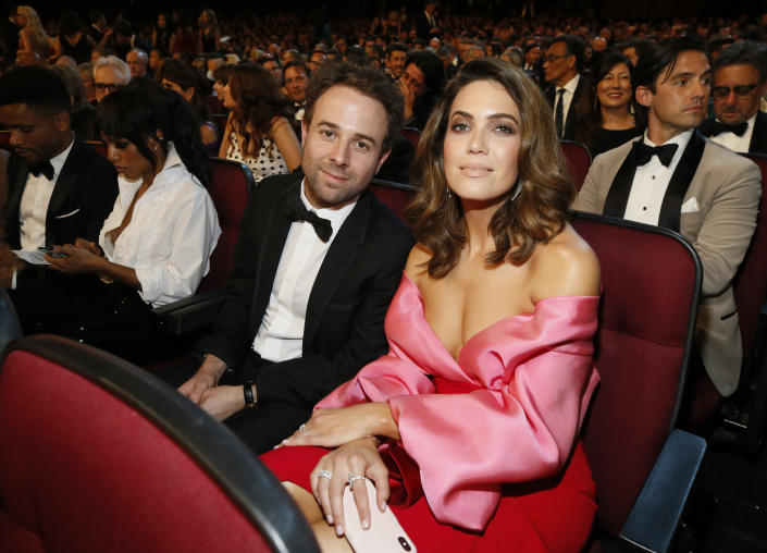 Taylor Goldsmith, left, and Mandy Moore in the audience at the 71st Primetime Emmy Awards on Sunday, Sept. 22, 2019, at the Microsoft Theater in Los Angeles. (Photo by Danny Moloshok/Invision for the Television Academy/AP Images)