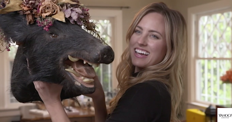 """Kendall Long with her boar's head: """"My face hurt so much from smiling after I got him."""" (Photo: Yahoo Lifestyle)"""