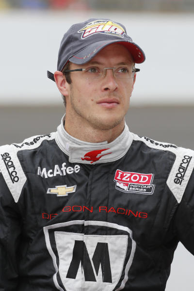 FILE - In this May 18, 2013, file photo, Sebastien Bourdais, of France, poses after he qualified on the first day of qualifications for the Indianapolis 500 auto race at the Indianapolis Motor Speedway in Indianapolis. Bourdais signed a two-year contract with KVSH Racing said three people familiar with the signing Wednesday, Oct. 16. (AP Photo/Dave Parker, File)