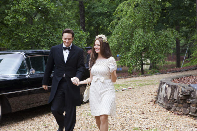 "Matt Ross as Johnny Cash and Jewel as June Carter Cash in the Lifetime Original Movie, ""Ring of Fire."""