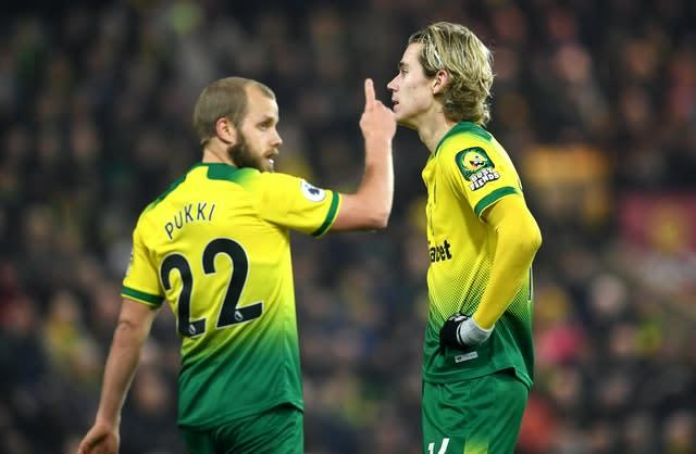 Teemu Pukki (left) and Todd Cantwell will be hoping for recalls this weekend. (Joe Giddens/PA)