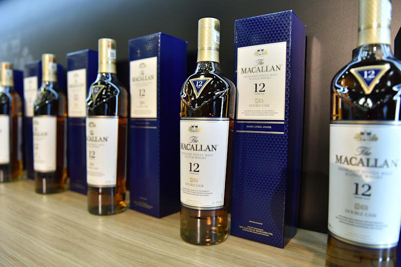 LONDON, ENGLAND - OCTOBER 23: Bottles of 12 years old double cask Macallan highland single malt whisky are displayed during the RM Sotherb's London, European car collectors event at Olympia London on October 23, 2019 in London, England. RM Sotheby's London, billed as the annual highlight for European car collectors will show Edwardians to modern supercars and offers collectors and attendees the opportunity to experience the very best of European cars. Sotheby's will also present The Ultimate Whisky Collection, the most valuable collection of whisky ever to be sold at auction, both events will culminate in live auctions on 24th October. (Photo by John Keeble/Getty Images)