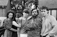 The cast of Brookside. From left to right, Sue Johnston (Sheila Grant) Shelagh O'Hara (Karen Grant), Simon O'Brien (Damon Grant), Ricky Tomlinson (Robert Grant) and Paul Usher (Barry Grant). 6th October 1982. (Photo by Staff/Mirrorpix/Getty Images)