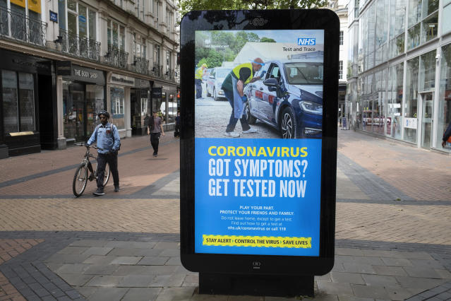 An NHS Test and Trace advert in Birmingham. A third of new COVID-19 cases were not contacted in its first week. (In Pictures via Getty Images)
