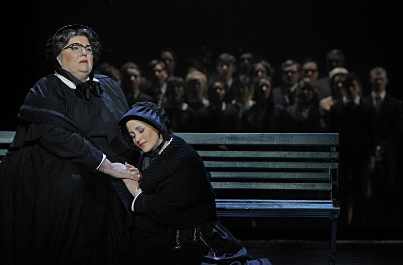 """In this Jan. 23, 2013 photo provided by the Minnesota Opera, Christine Brewer, left, as Sister Aloysius Beauvier, the school principal and Adriana Zabala as Sister James, a teacher and a nun, perform during a dress rehearsal for the Jan. 26 world premiere of """"Doubt"""" at the Minnesota Opera Center in Minneapolis. (AP Photo/Minnesota Opera, Michal Daniel)"""