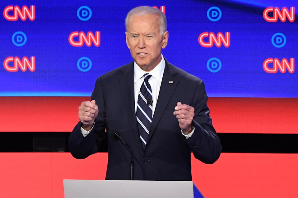 Democratic presidential hopeful former Vice President Joe Biden gestures as he speaks during the second round of the second Democratic primary debate of the 2020 presidential campaign season hosted by CNN at the Fox Theatre in Detroit, Michigan on July 31, 2019. (Photo by Jim WATSON / AFP) (Photo credit should read JIM WATSON/AFP/Getty Images)