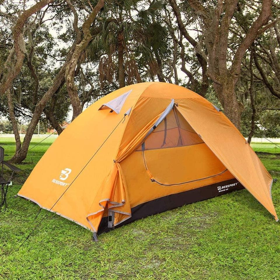 "<p>If you're camping alone or going with just one other person, this <a href=""https://www.popsugar.com/buy/Bessport-Backpacking-Tent-Person-Ultralight-Camping-Waterproof-Tent-584327?p_name=Bessport%20Backpacking%20Tent%20Person%20Ultralight%20Camping%20Waterproof%20Tent&retailer=amazon.com&pid=584327&price=66&evar1=savvy%3Aus&evar9=47570402&evar98=https%3A%2F%2Fwww.popsugar.com%2Fsmart-living%2Fphoto-gallery%2F47570402%2Fimage%2F47570429%2FBessport-Backpacking-Tent-Person-Ultralight-Camping-Waterproof-Tent&list1=travel%2Camazon%2Ccamping&prop13=mobile&pdata=1"" class=""link rapid-noclick-resp"" rel=""nofollow noopener"" target=""_blank"" data-ylk=""slk:Bessport Backpacking Tent Person Ultralight Camping Waterproof Tent"">Bessport Backpacking Tent Person Ultralight Camping Waterproof Tent</a> ($66) is a smart compact choice.</p>"