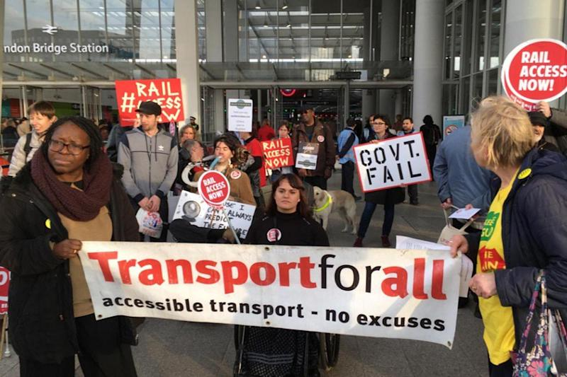 Protest: Campaigners stand outside London Bridge station: Paula Peters