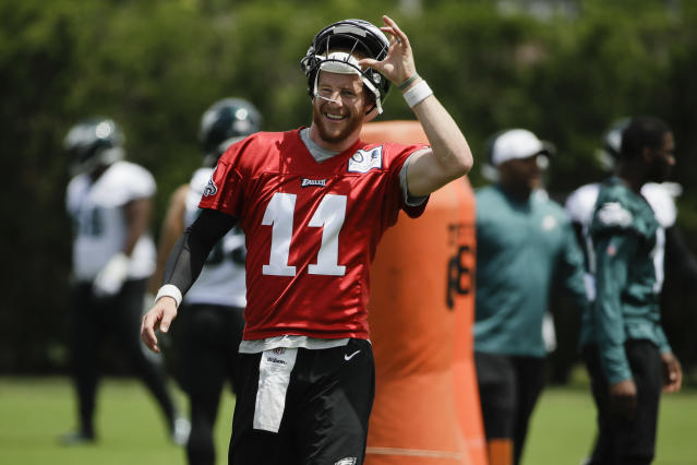 Philadelphia Eagles quarterback Carson Wentz is back after an injury-filled 2018 season. (AP)