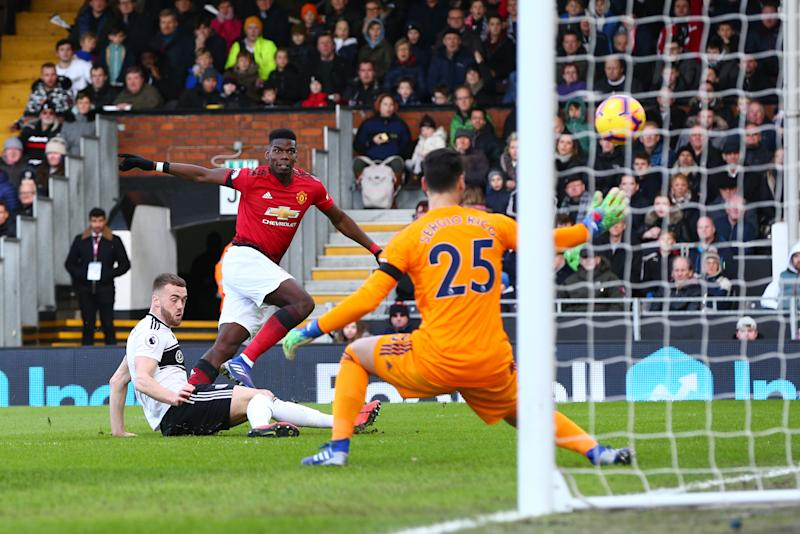 LONDON, ENGLAND - FEBRUARY 09: Paul Pogba of Manchester United scores the opening goal during the Premier League match between Fulham FC and Manchester United at Craven Cottage on February 9, 2019 in London, United Kingdom. (Photo by Craig Mercer/MB Media/Getty Images)