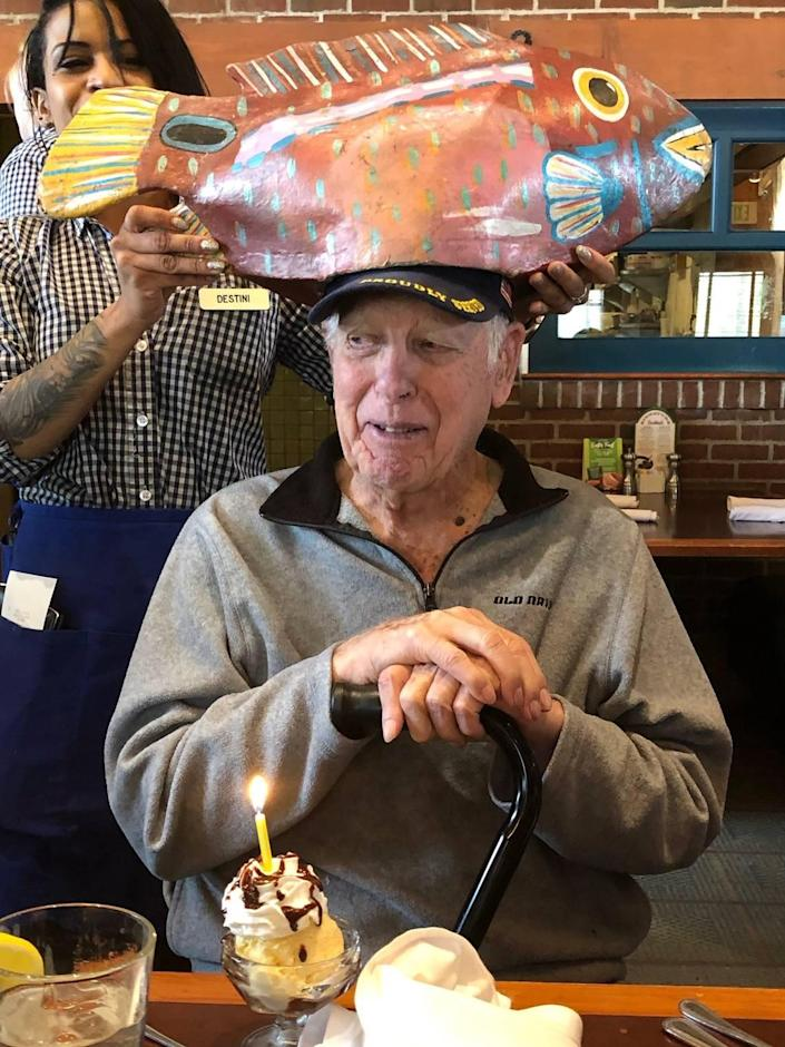 "LR ""Bob"" Barnes, pictured here on his 94th birthday, died in December after contracting COVID-19. He loved hunting, fishing and his family."