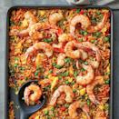 <p>Classic shrimp fried rice gets amped-up flavor with sambal heat. The textures are pretty spot on with hits of crispy and tender rice and are the same as you'd get if you prepared it in a wok or skillet. This sheet-pan shrimp fried rice recipe is a great way to use leftover rice, but you could also use pre-cooked microwave rice so that it can be coming to room temperature while you chop the veggies.</p>