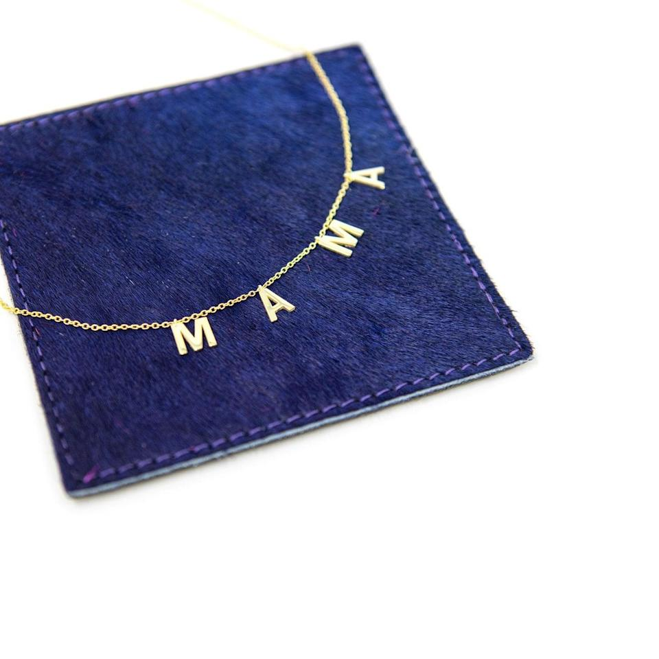 <p>This adorable <span>Mama Necklace</span> (72) from The Sis Kiss comes in a variety of styles and can be worn tight to the neck as a choker or looser, thanks to the built-in extension on the chain.</p>