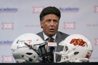 Oklahoma State head coach Mike Gundy speaks during the NCAA college football Big 12 media days Thursday, July 15, 2021, in Arlington, Texas. (AP Photo/LM Otero)