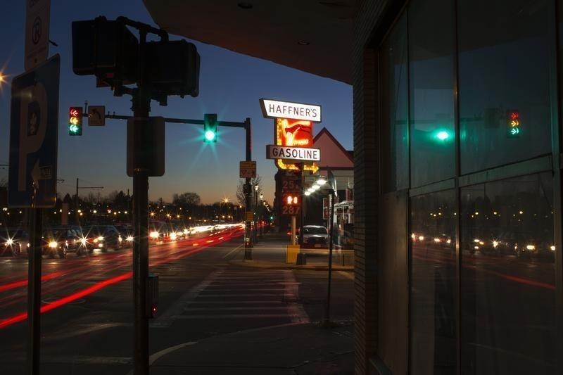 A sign for a Haffner's petrol station is seen in Lowell, Massachusetts