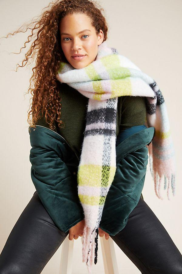 Delaney Plaid Fringed Scarf