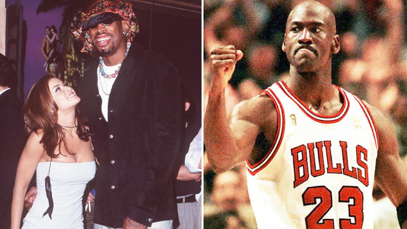 Michael Jordan and Dennis Rodman, pictured here during their heydays with the Chicago Bulls.