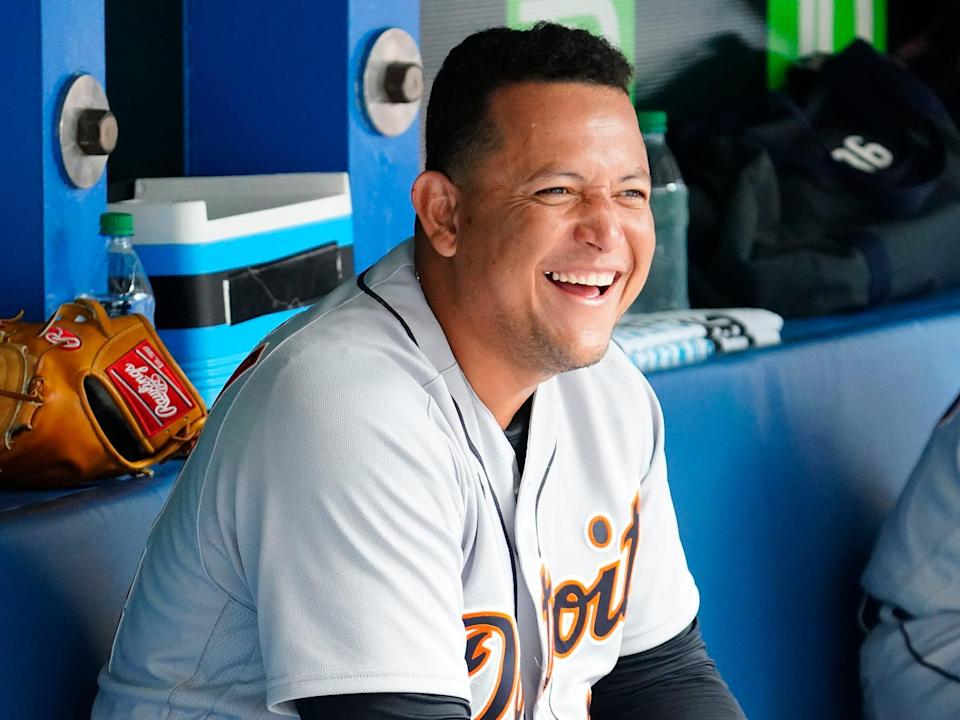 Detroit Tigers designated hitter Miguel Cabrera smiles in the dugout after his solo home run against the Toronto Blue Jays in the sixth inning at Rogers Centre. The home run was the 500th of his career on August 22, 2021.
