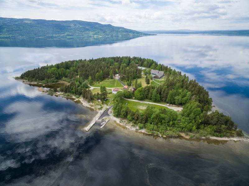 Aerial view of the island Utoya on May 31, 2017 where far-right extremist Anders Behring Breivik killed 69 people back in July 2011. The Labour Party´s Youth Organization AUF holds their summer camp here. New buildings has been built during the last years. / AFP PHOTO / NTB Scanpix / Tore MEEK / Norway OUT (Photo credit should read TORE MEEK/AFP/Getty Images)