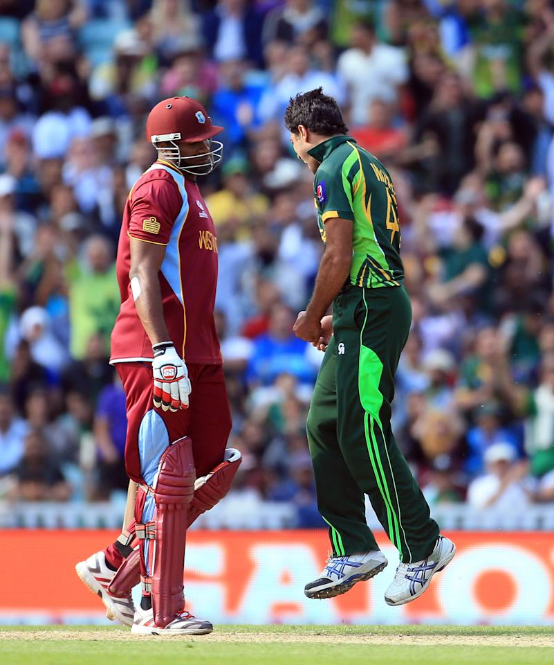 LONDON, ENGLAND - JUNE 07:  Wahab Riaz of Pakistan celebrates taking the wicket of Kieron Pollard of West Indies during the ICC Champions Trophy group B match between West Indies and Pakistan at The Oval on June 7, 2013 in London, England.  (Photo by Richard Heathcote/Getty Images)