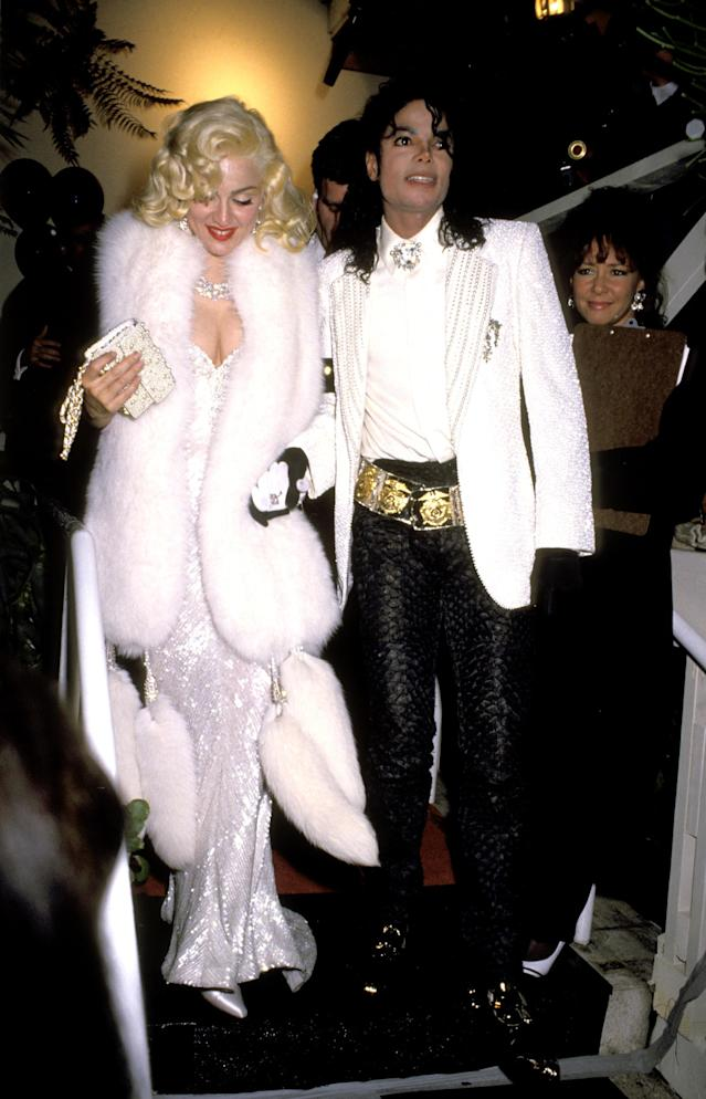 <p>Madonna channelled Marilyn Monroe at an Oscars after party in the early 90, wearing a Bob Mackie glittering dress and $20 million worth of Harry Winston diamonds. <em>[Photo: Getty]</em> </p>