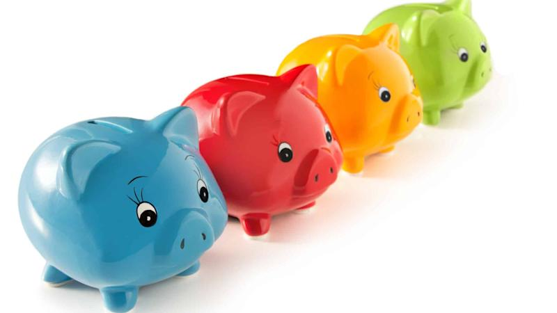 4 primary coloured piggy banks