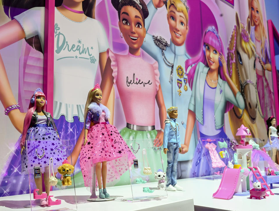 Barbie Princess Adventure is an all new musical sing along with long-form content and product debuting in Fall 2020. The Barbie Deluxe Princess line showcased at New York Toy Fair Friday, Feb. 21, 2020 includes two dolls, trendy outfits and their personal pets, all inspired by Barbie Princess Adventure. (Diane Bondareff /AP Images for Mattel)