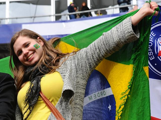 A Brazilian fan poses before the 2011 Copa America Group B first round football match between Brazil and Venezuela at the Ciudad de La Plata stadium in La Plata, 59 Km south of Buenos Aires, on July 3, 2011. AFP PHOTO / DANIEL GARCIA (Photo credit should read DANIEL GARCIA/AFP/Getty Images)