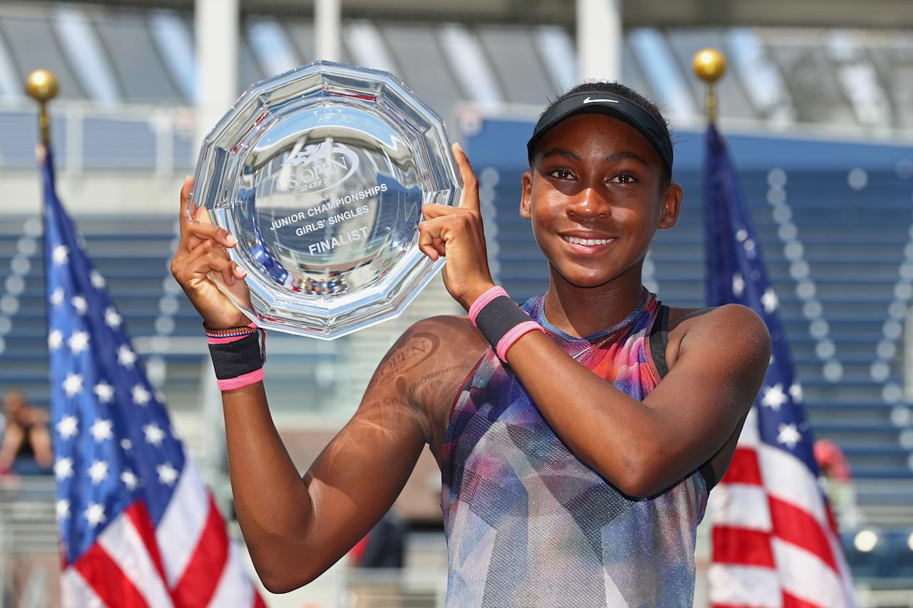 Gauff entered the 2017 US Open girls' singles competition and became the youngest athlete to be a finalist. She was the runner-up to Amanda Anisimova.