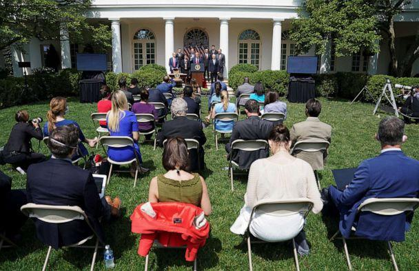 PHOTO: President Donald Trump speaks in the Rose Garden of the White House as journalists are seated close together amid the outbreak of coronavirus in Washington, June 5, 2020. (Kevin Lamarque/Reuters)