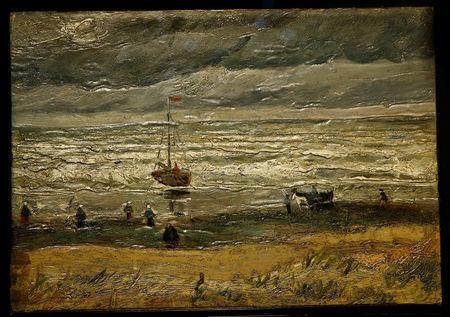 """The canvas """"View of the Sea at Scheveningen"""", one of the two recovered paintings by Vincent van Gogh which were stolen from the Van Gogh Museum in 2002, is pictured at the van Gogh Museum in Amsterdam"""